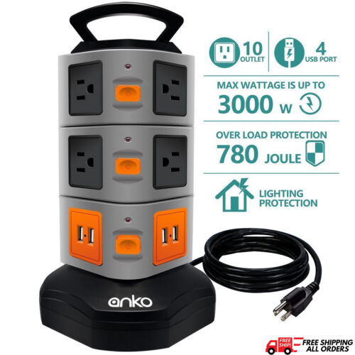 3000W Power Strip Tower, 10 Outlet Plugs 4 USB Surge Protector Charging Station