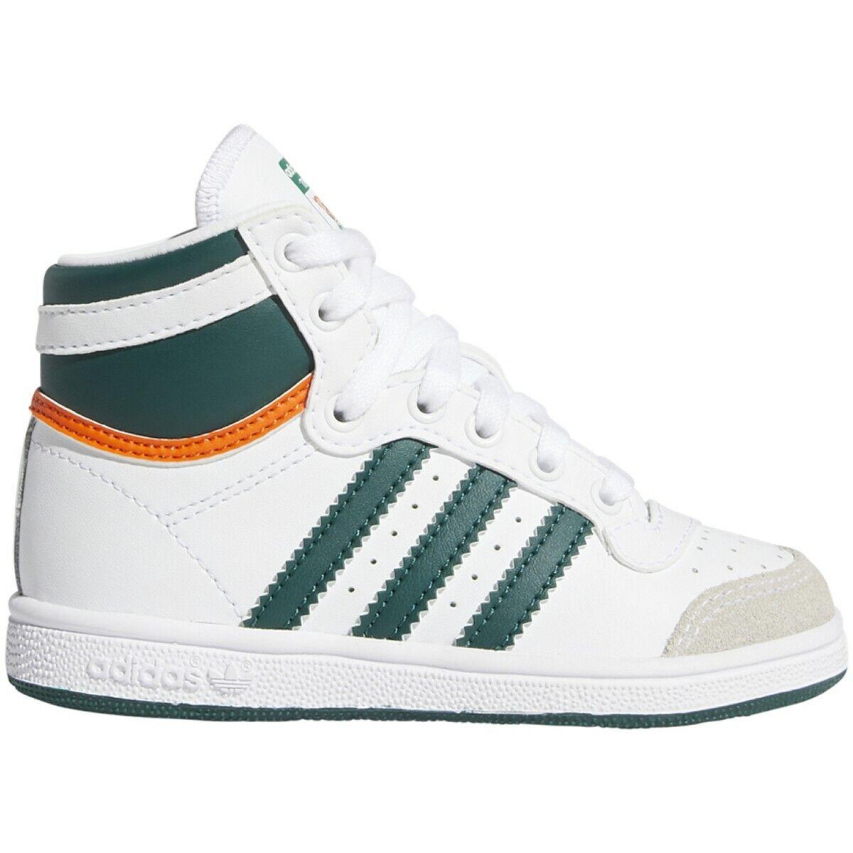 New Baby Adidas Originals Top Ten High Toddler Shoes (EF2840) White/Green-Orange