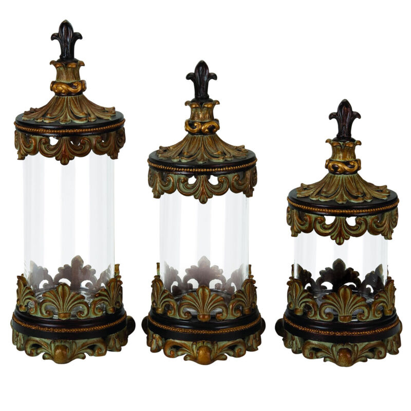 Urban Designs Fleur-De-Lis 3-Piece Glass Cylinder Canister Set - Antique Gold