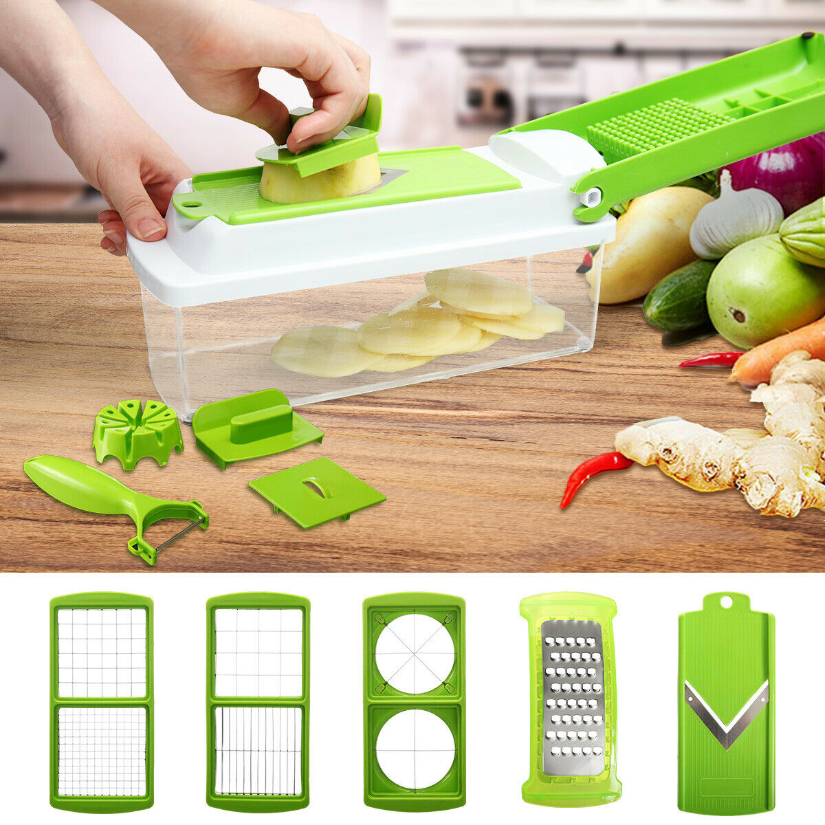 12 PC Kitchen Super Slicer Plus Vegetable Fruit Peeler Dicer Cutter Chopper