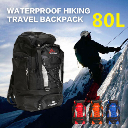 80L Large Outdoor Camping Backpack Rucksack Travel Climbing