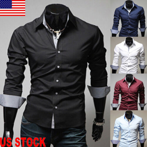 Luxury Mens Stylish Casual Dress Shirt Slim Fit T-Shirts For