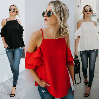 Fashion Summer Women Casual Chiffon Off Shoulder Lady T Shirts Loose Tops Blouse