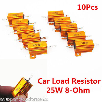 10Pcs Universal Auto Car Load Resistor 25W 8-Ohm Fix LED Bulb Fast Flash Blinker American Standard 10 Hole