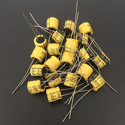 100pcs 25v100uf 25v 8x7mm Japan Elna Audio Capacitor Yellow