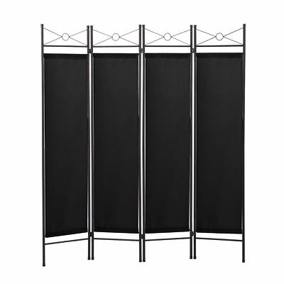 Black 4 Panel Room Divider Privacy Folding Screen Home Office Fabric Metal Frame
