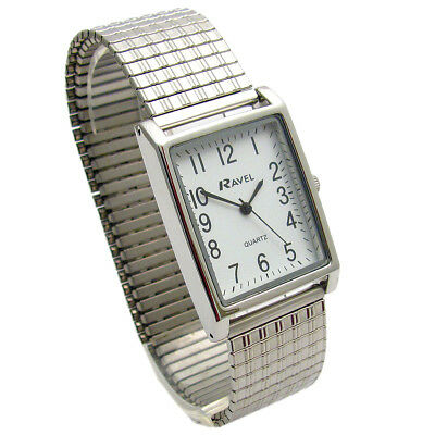 Mens Ravel Super-Clear Square Quartz Watch with Expanding Bracelet 50 R0220.02.1