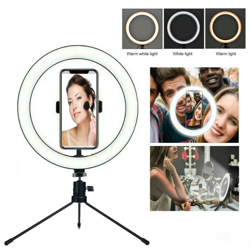 "10"" LED Ring Light with Tripod Stand & Phone Holder Dimmable Desk Ringlight Kit"