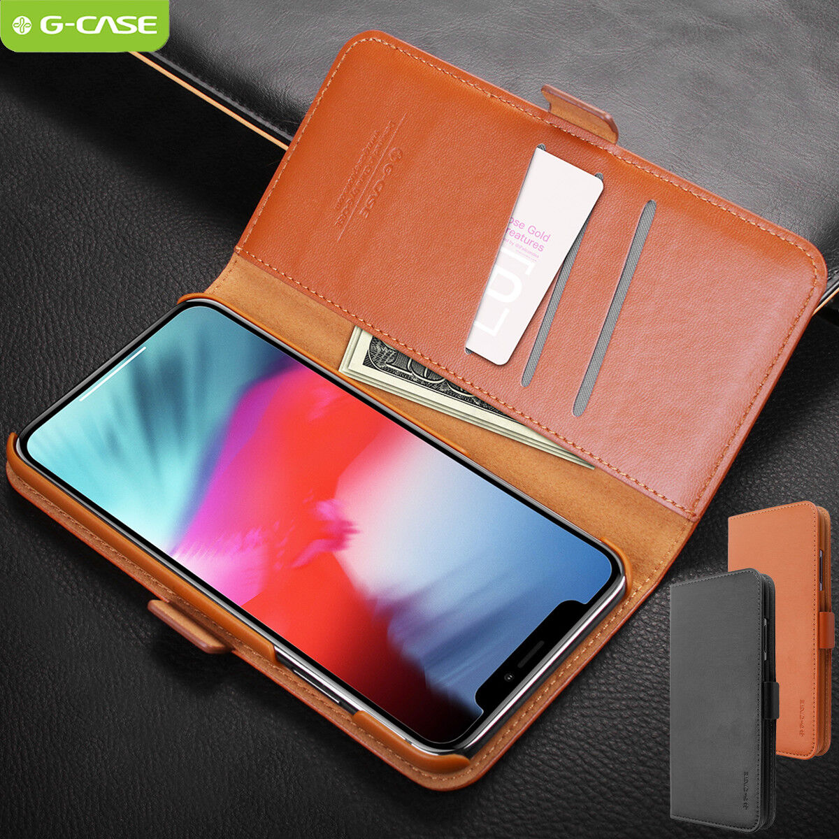 Flip Case for iPhone 11 Pro Leather Cover Business Gifts Wallet with Extra Waterproof Underwater Case