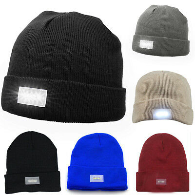 5-LED Beanie Lighted Cap Winter Warm Flashlight Black Style Hunting Camping Hat - Led Winter Hat