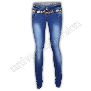 Jeans Women Denim Skinny Belt Slim Fit Trousers Stretch Casual New