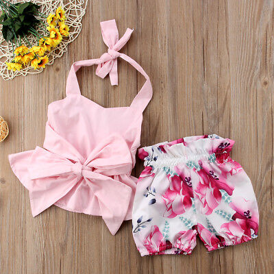 2Pcs Newborn Kids Baby Girl Bowknot Tops+Shorts Pants Outfit Clothes Set 0-2T