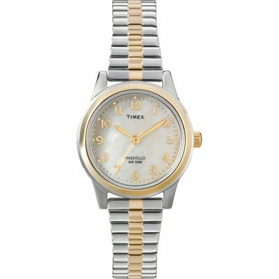 Ladies Timex Indiglo Two Tone Stretch Expansion Stainless MOP Dial Watch T2M828