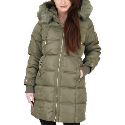 Jessica Simpson Women's Faux Fur Trimmed Mid-Length Hooded Winter Puffer Coat