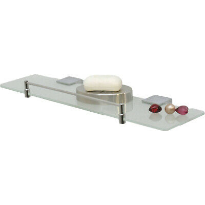 Evideco Stainless Wall Mounted Shelf Frosted Glass with Chrome Finish and Rail