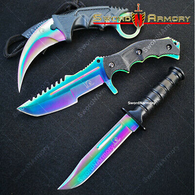 3 Piece Tactical Knife Set Hunting Karambit Combat Knives w/ Sheath Multi color