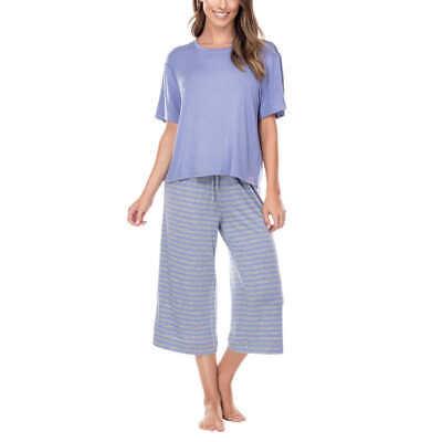 Honeydew Ladies' 2-piece Crop Pant PJ Set Bluebell Stripe Size L NWT
