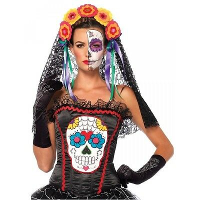 Sugar Skull Bustier Day of the Dead Corset Black New by Leg Avenue Sizes S, M, L