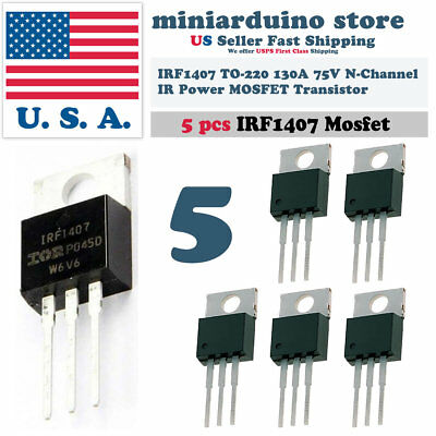5pcs Irf1407 Irf 1407 Power Mosfet Transistor To-220ab Ir N Channel 75v 130a
