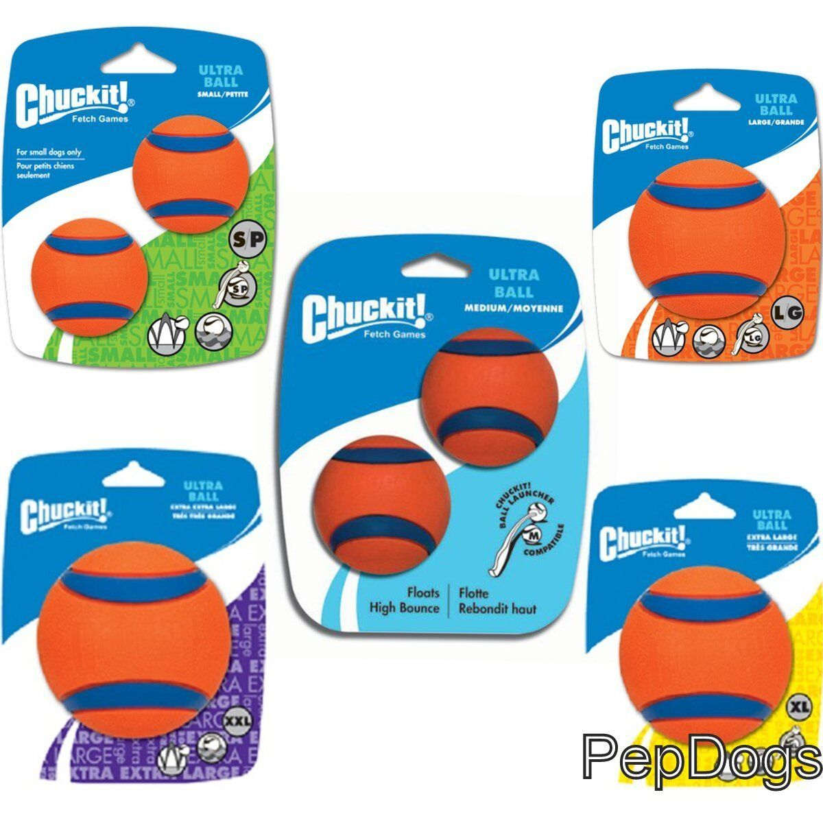 Chuckit! ULTRA BALL Durable Rubber Fetch Floating Dog Toy Fi