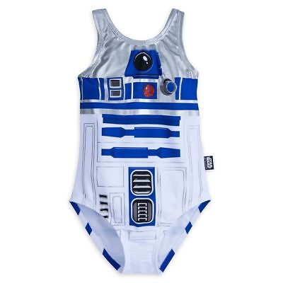 NEW Disney Store Girls Star Wars R2-D2 One Piece Swimsuit White Blue many sizes](Disney Swimwear Girls)