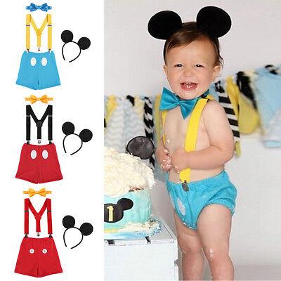 ouse 1. Geburtstag Kostüm Fliege Hosenträger Stirnband Set  (Mickey Mouse Jungen Kostüm)