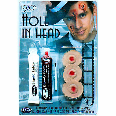 Hole in the Head Bullet Hole Victim Makeup FX Kit Halloween Costume Accessory (Halloween Makeup Bullet Hole)