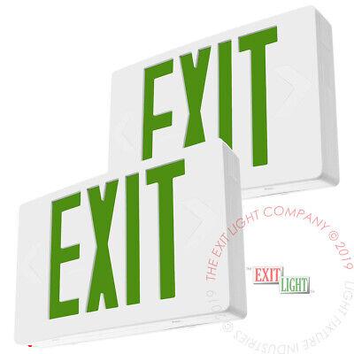 2pack Green Led Emergency Exit Light Sign - Battery Backup Ul924 Fire - Ledgbb