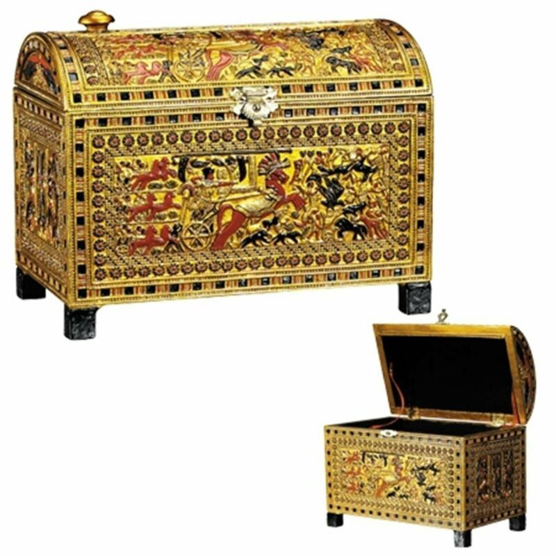 Egyptian King Tut Chariot Scene Jewelry Trinket Box Storage Container Egypt New