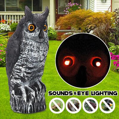 Fake Owl Decoy  w/ Sound & Eyes Lighting Pest Repellent Bird Scare Garden Decor