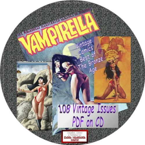 EARLY VINTAGE VAMPIRELLA COMICS - 108 ISSUES - PDF ON CD -HORROR, COMEDY