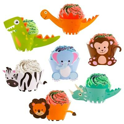 12 Pcs Animal Cake Borders Cute Mini Dinosaur Kids Birthday Party Decorations