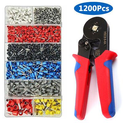 Wire Crimping Pliers Tool Ferrule Crimper 0.25-6.0mm 1200pc Crimp Terminals Set