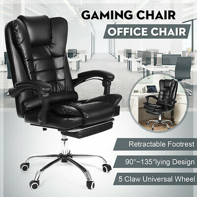 Executive Office Chair Swivel Computer Desk Seat Gaming Chair Leather Recliner