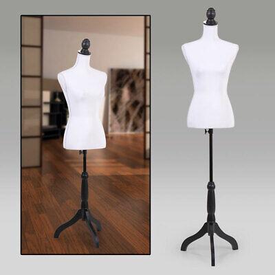 White Female Mannequin Torso Clothing Display W Black Tripod Stand Modern