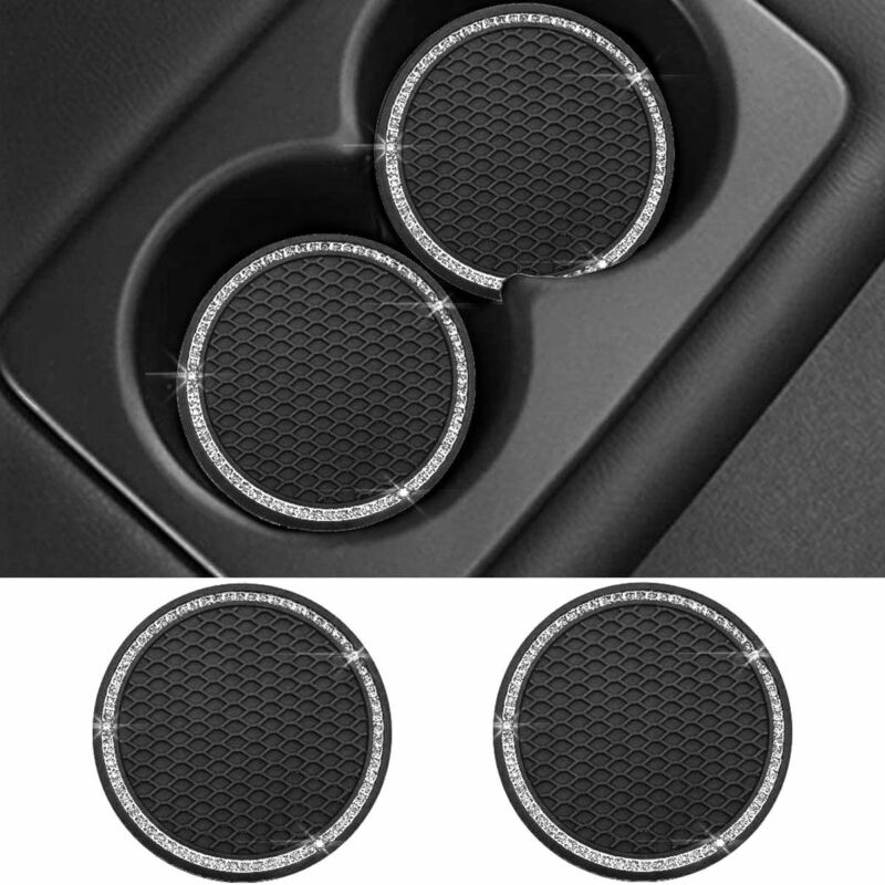 2pcs Vehicle Bling Cup Holder Insert Coaster Car Anti Slip Rhinestone Coaster Us