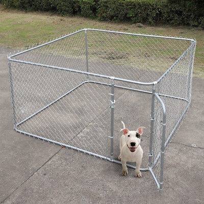 Dog fence 7.5x7.5 Ft Heavy Duty Outdoor Chain Link Dog Kennel Enclosure w/
