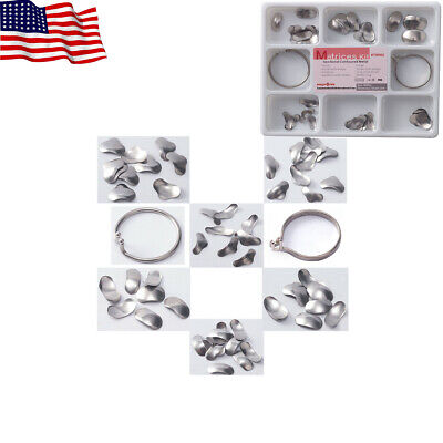 Easyinsmile 100pc Dental Matrix Ring Sectional Contoured Metal Matrices Full Kit