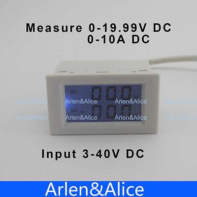 Dc Voltmeter Ammeter Range Dc 0-19.99v 0-10a Blue Backlight Dc 340 Input