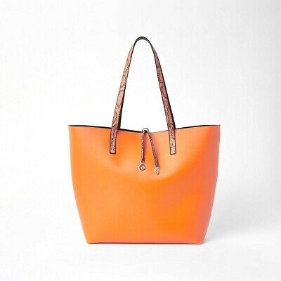 River Island Neon Orange & Snake print Beach Bag Shopper Tote Handbag BNWT
