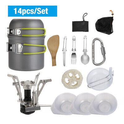 12Pcs Portable Outdoor Camping Cookware Backpacking Hiking Cooking Equipment Set