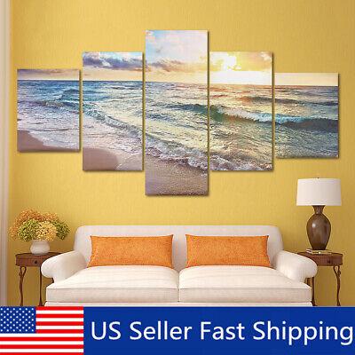 5Pcs Sea Beach Canvas Modern Painting Print Home Room Art Wall Decor  US ()