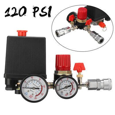 120psi Air Compressor Pressure Control Switch Valve Manifold Regulator Gauges