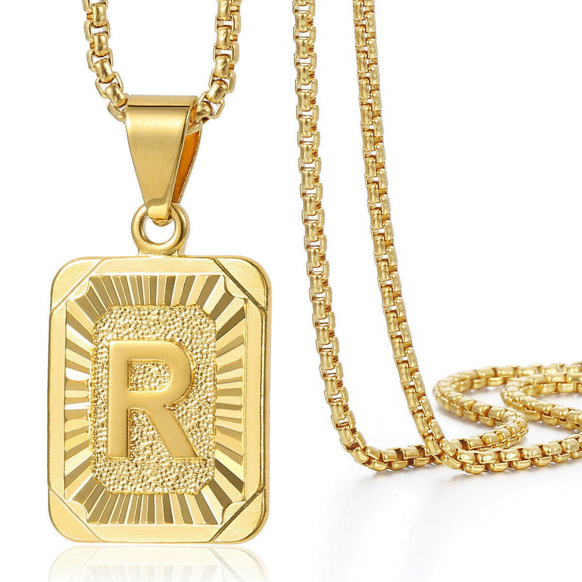 """Jewellery - 18""""-30"""" Womens Mens Gold Plated Initial A-Z Letter Pendant Necklace Steel Chain"""