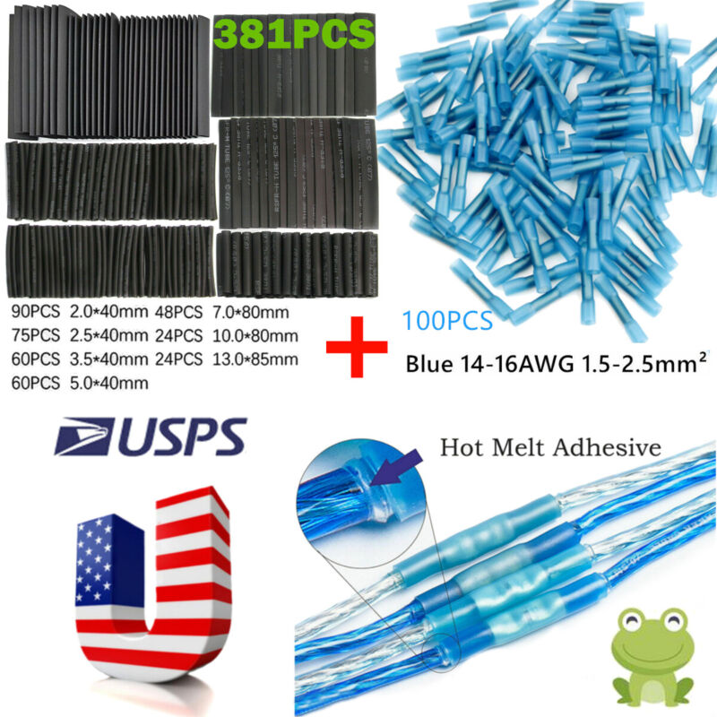481X Heat Shrink Wire Butt Wrap Tubing Electrical Terminals Connectors Cable Set