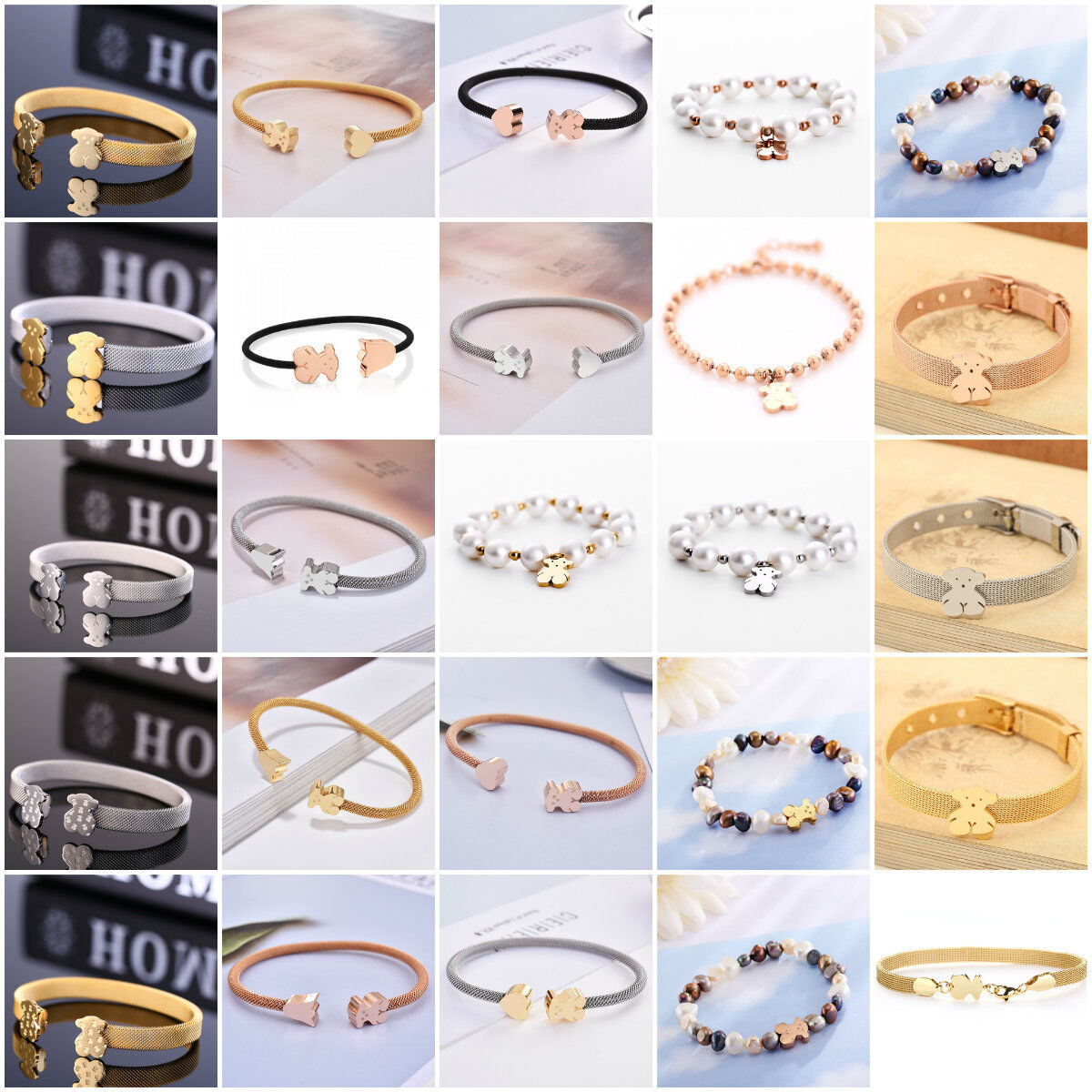 Women Cartoon Bear Series Chain Titanium Bracelet Steel Bangle Jewelry