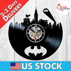 Batman Sign Logo Emblem DC Comics Vinyl Record Wall Clock Room Decor Best Gifts