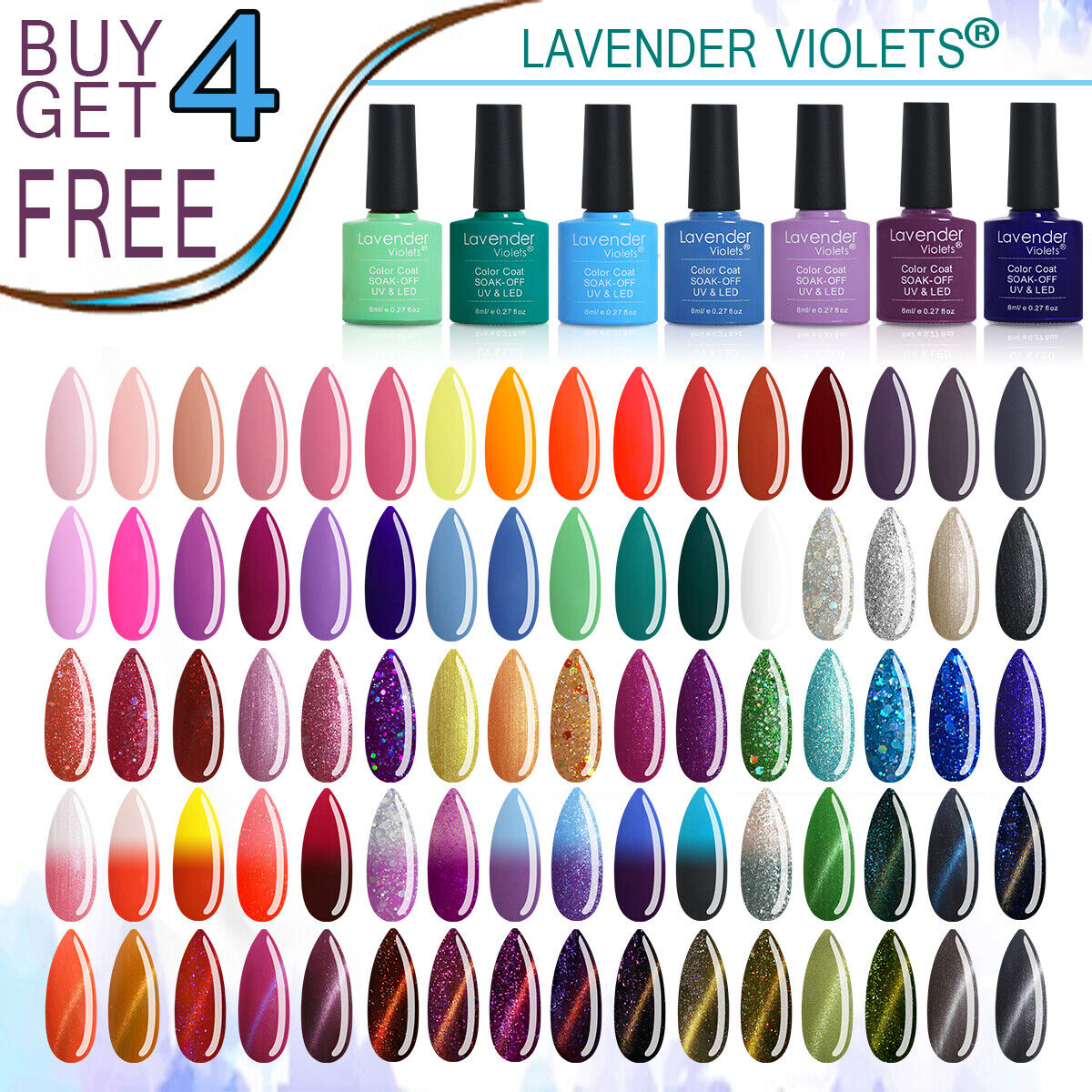Lavender Violets 8ml Soak off UV LED Nail Gel Polish Color B