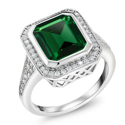 5.00 Ct Vintage Women's 925 Sterling Silver Octagon Cut Nano Emerald -