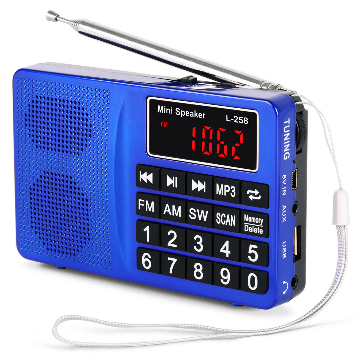 PRUNUS Portable SW/FM/AM(MW)MP3 Micro SD USB radio with